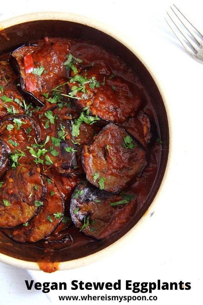 vegan eggplant or aubergine stew in a serving dish