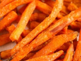 air fryer frozen sweet potato fries close up.