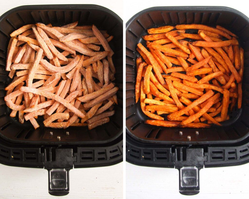 collage of two pictures of fries before and after air frying
