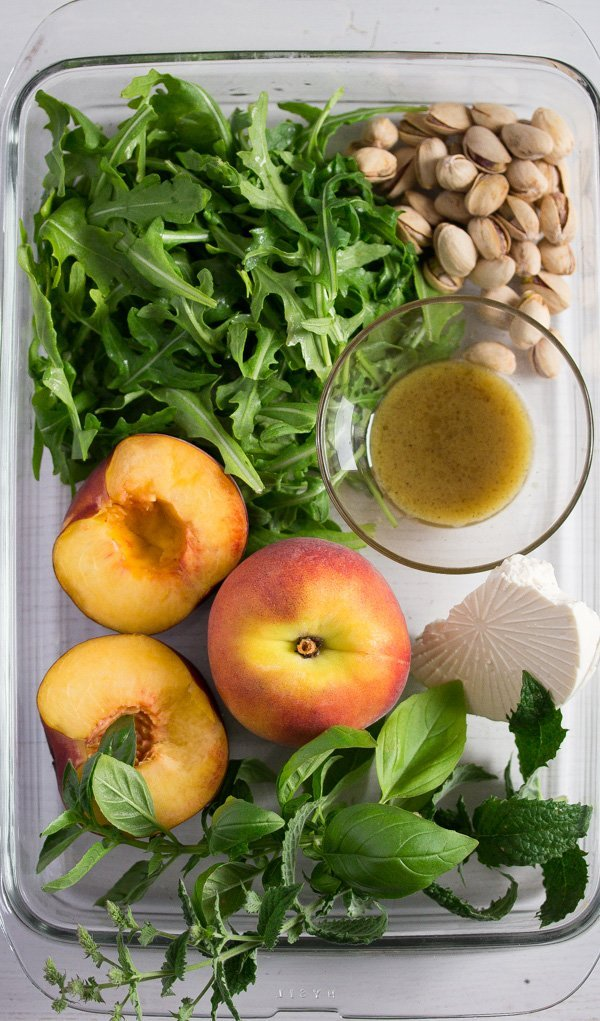 ingredients for grilled peach salad