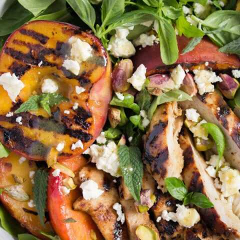 close up grilled peach salad
