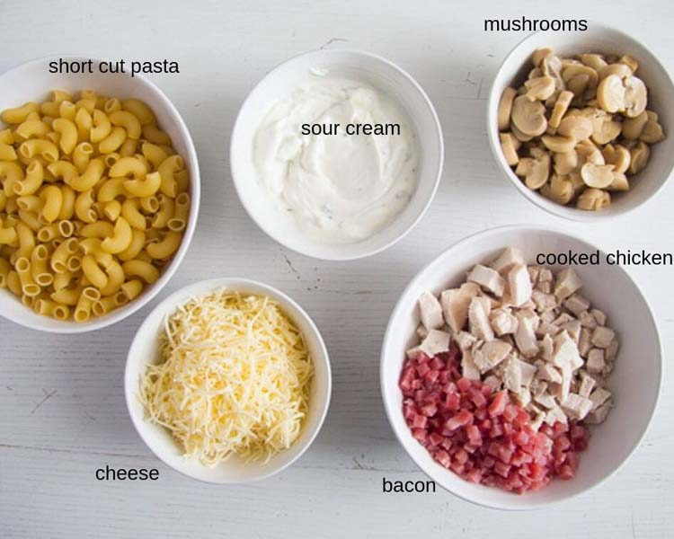 ingredients chicken bacon pasta Chicken and Bacon Pasta Bake