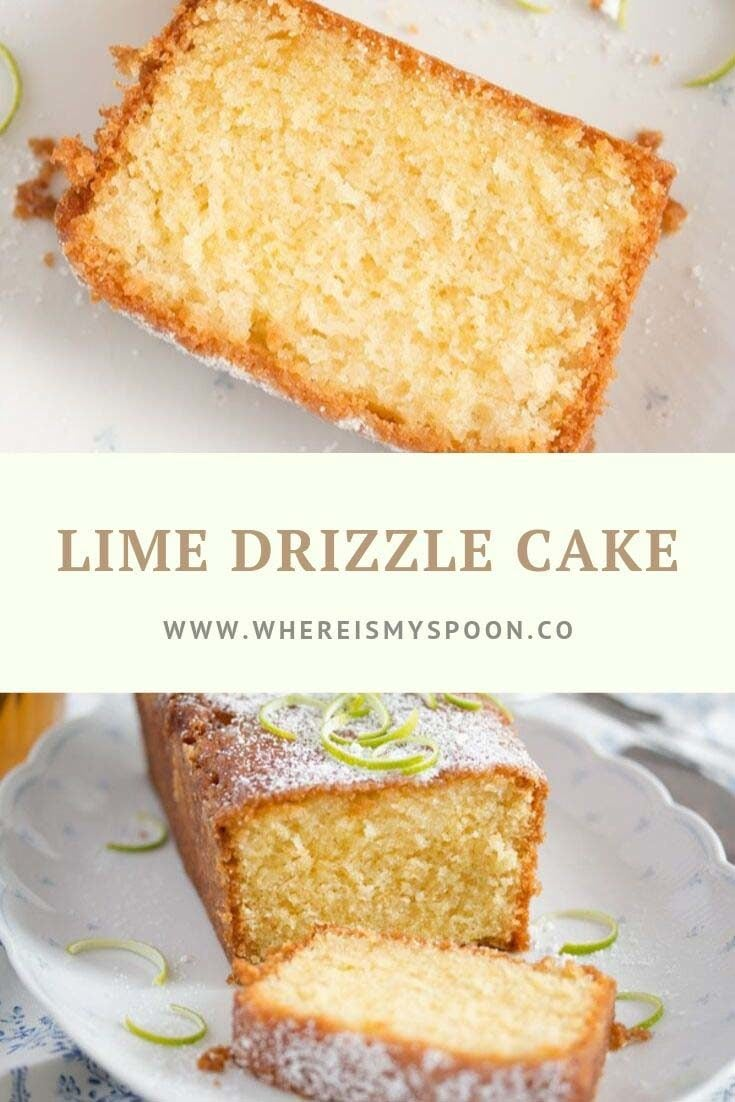 An easy and quick to make lime drizzle cake recipe, moist, tangy and delicious. #whereismyspoon #limecake #drizzlecake #cakes #britishcakes