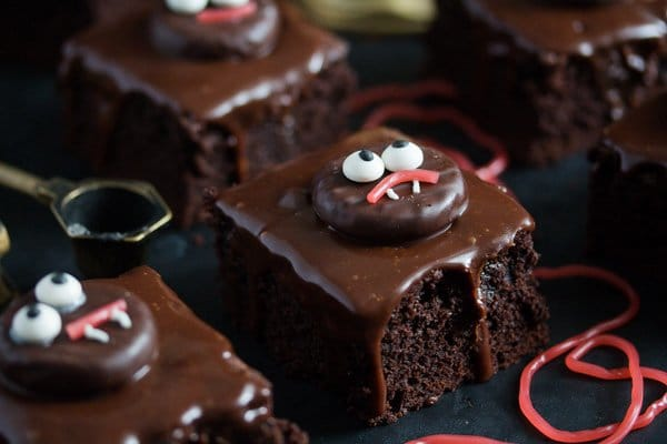 hallloween brownies with cute monster faces