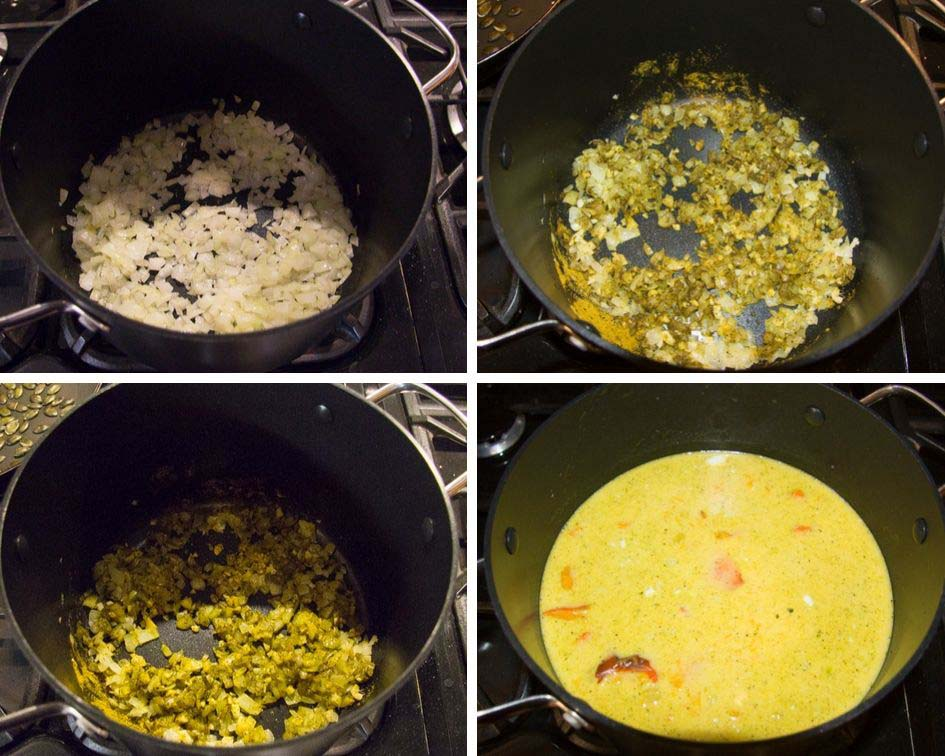 step by step making roasted pumpkin soup