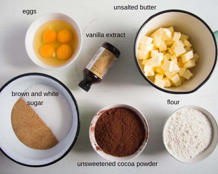 ingredients for making brownies
