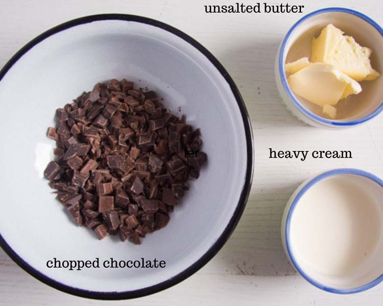 ingredients for making chocolate glaze for cakes or brownies