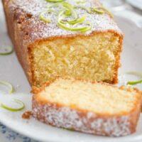 sliced moist loaf cake on a platter