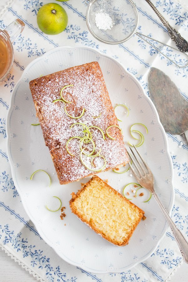 sliced lime drizzle cake