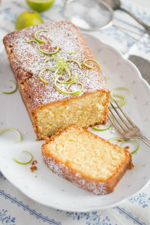 lime drizzle cake on a platter