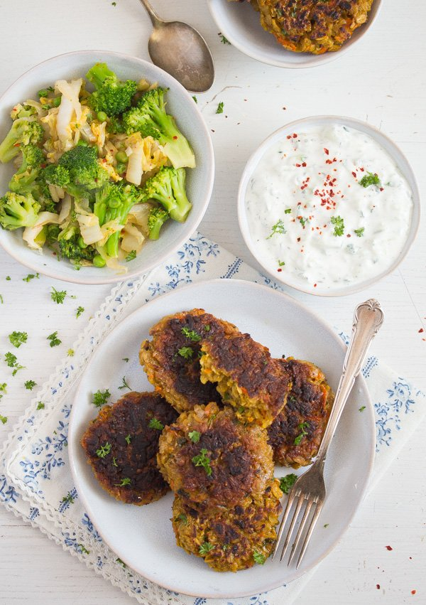 oatmeal vegetarian patties on a plate