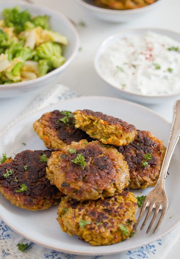vegetarian patties on a plate