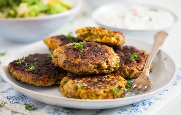 vegetarian patties on a plate with parsley