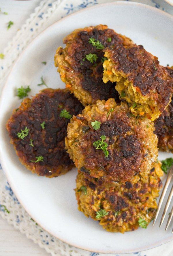 vegetarian patties on a plate ready to be served