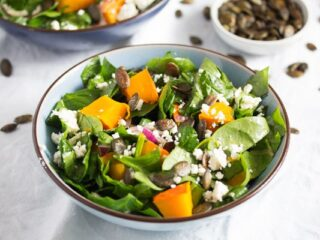pumpkin salad and spinach