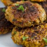 vegetarian patties on a plate close up