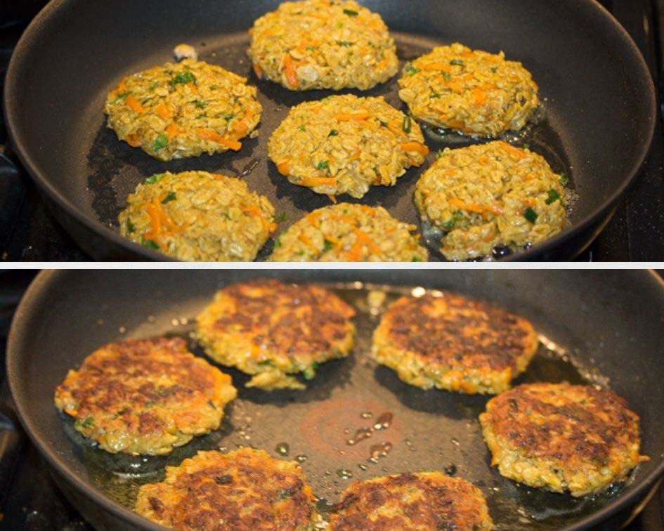 frying vegetarian patties in a pan