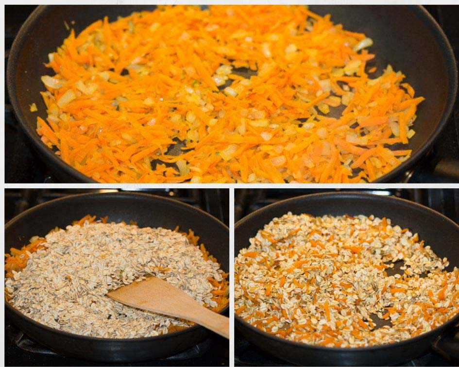 frying carrots and oats for vegetarian patties