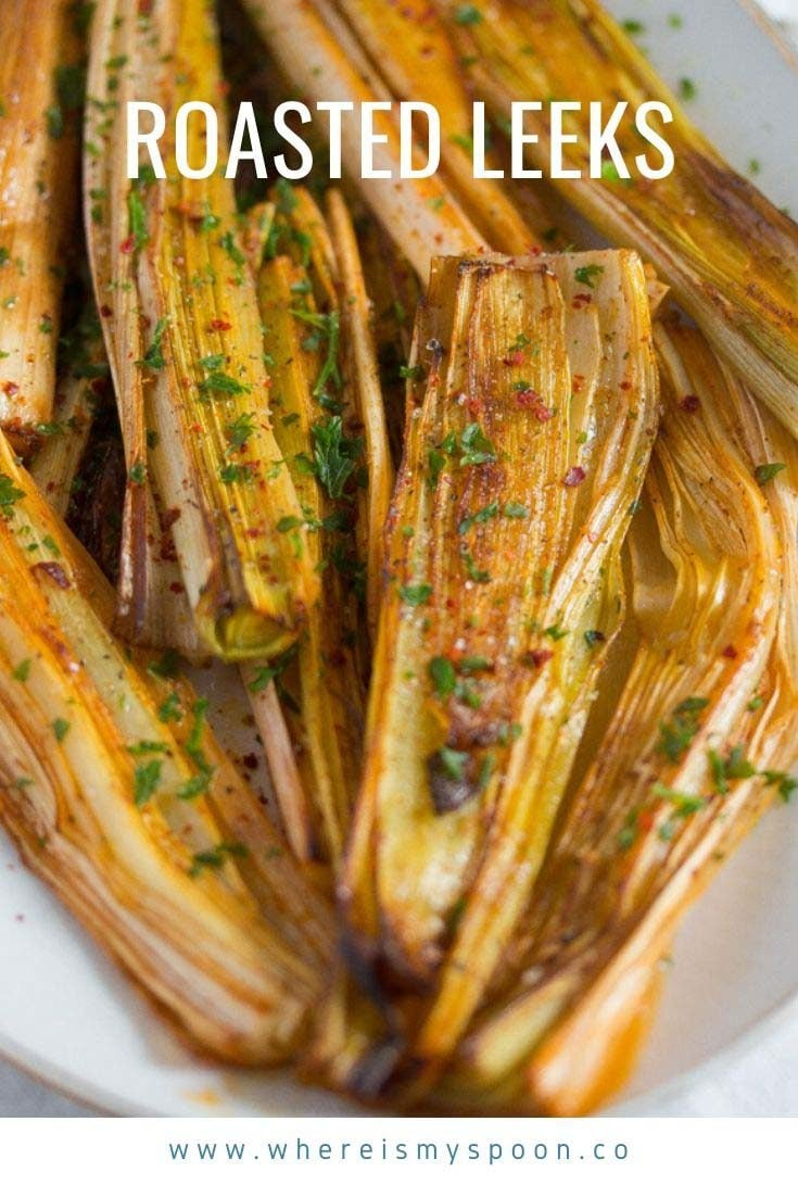 A simple recipe for oven roasted leeks, this is an easy to make, tasty and healthy side for any kind of meal. #whereismyspoon #roastedleeks #leeks #sidedish #ovenroastedleeks #bakedleeks #howtocookleeks