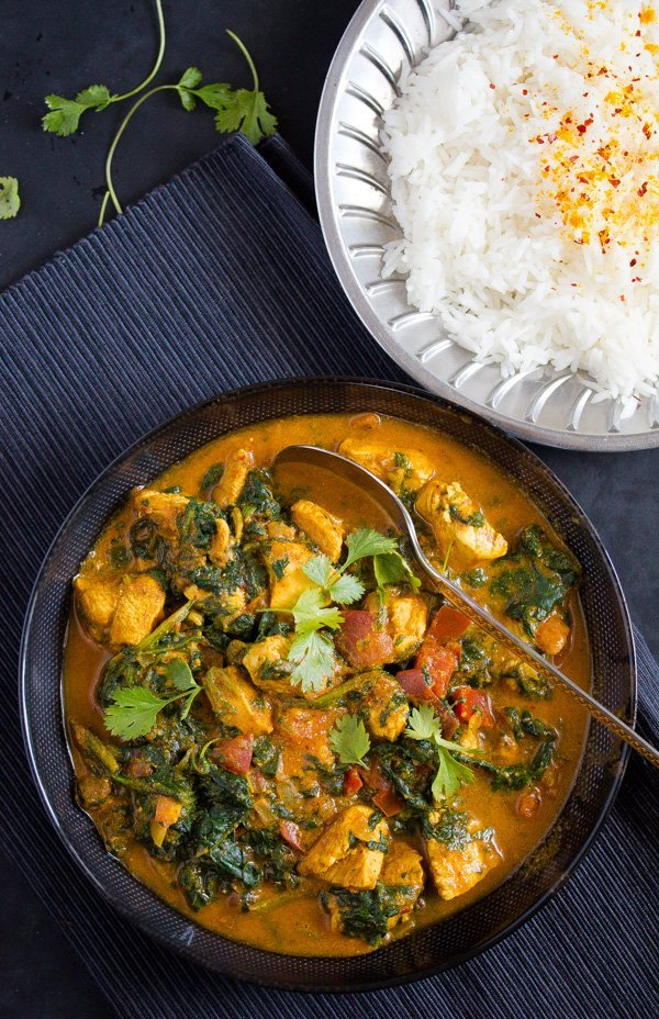 healthy chicken saag with rice