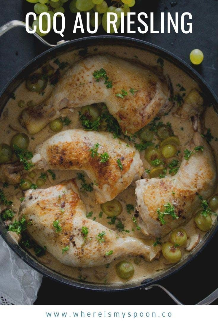 Coq au Riesling – the famous French chicken in white wine sauce. Tender chicken legs in a creamy white wine and cream sauce with mushrooms. #whereismyspoon #chicken #coqauriesling #frenchchicken #frenchrecipe #whitewinechicken #creamychicken