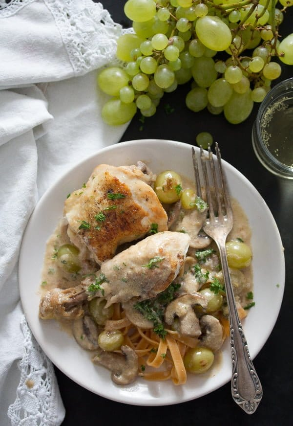 coq au riesling with grapes ready to be served