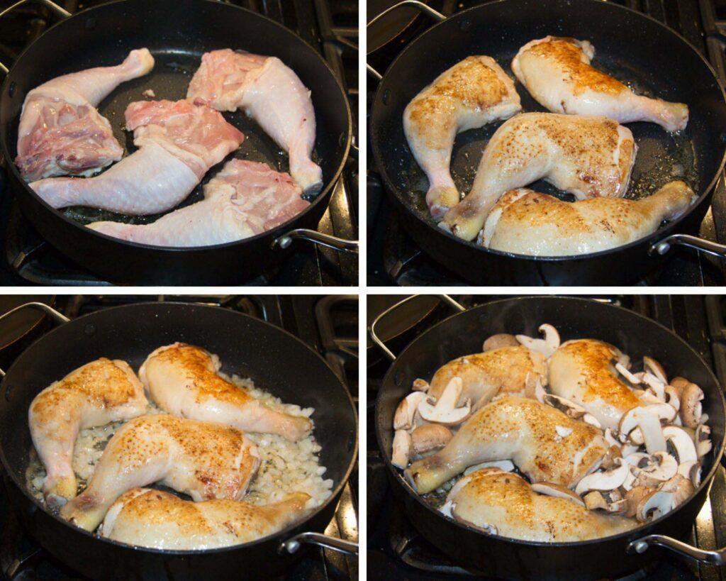 frying chicken legs in a pan