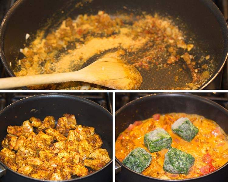 frying spices and chicken in a pan