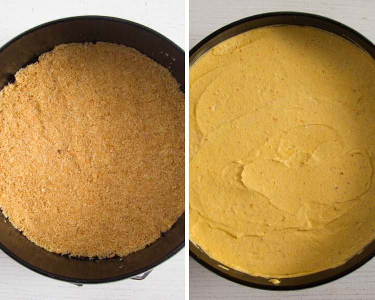 graham crust and cheesecake filling Pumpkin Cheesecake – No Bake