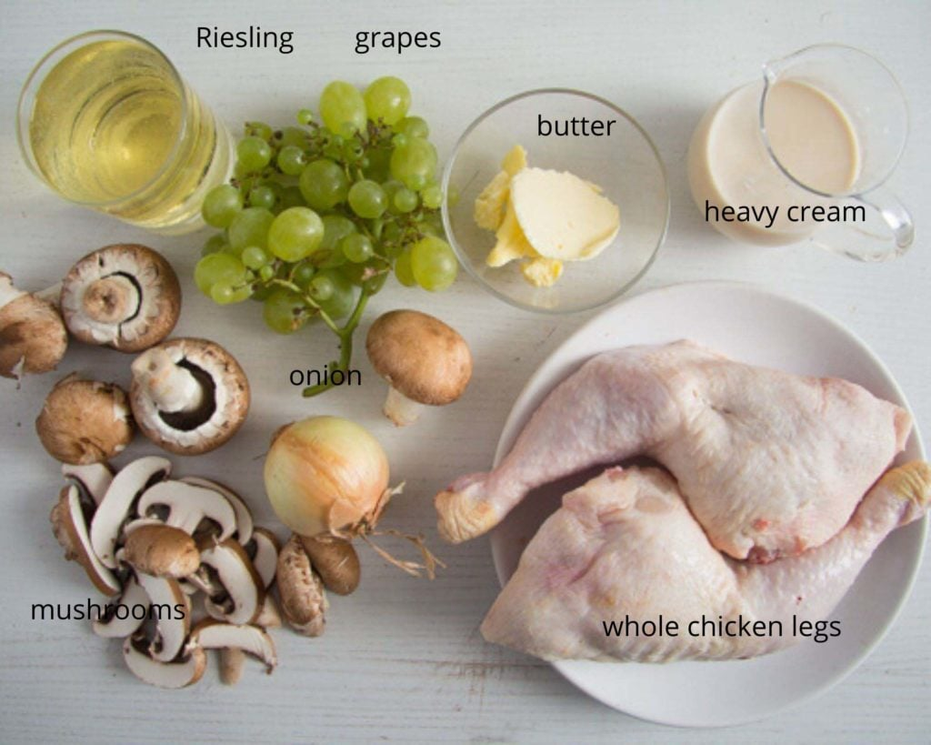 ingredients for coq au riesling