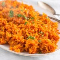 spicy nigerian jollof rice on a serving platter