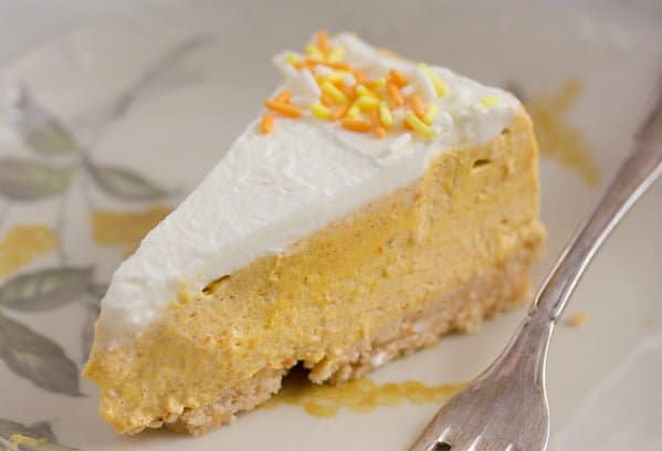 slice of creamy pumpkin cheesecake no bake