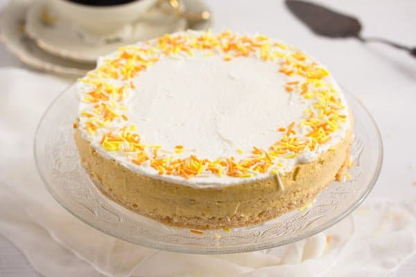 cheesecake with orange sprinkles on top