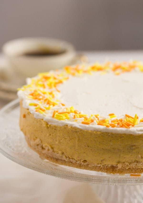 no bake pumpkin cheesecake with orange sprinkles on top