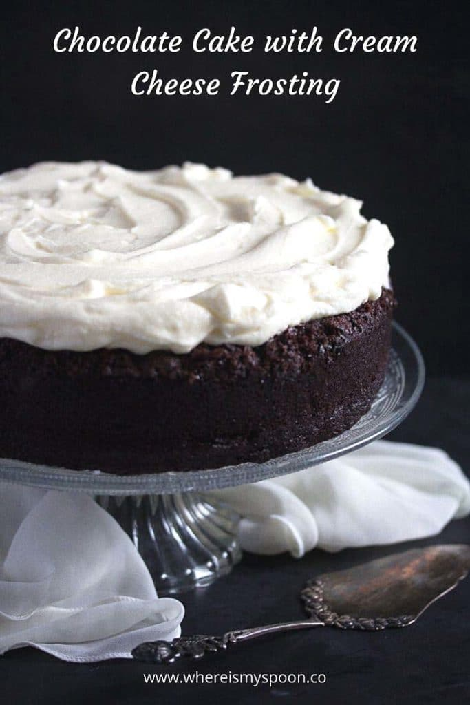 chocolate cake with white chocolate frosting