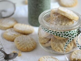 eggless cookies in a jar and on the table