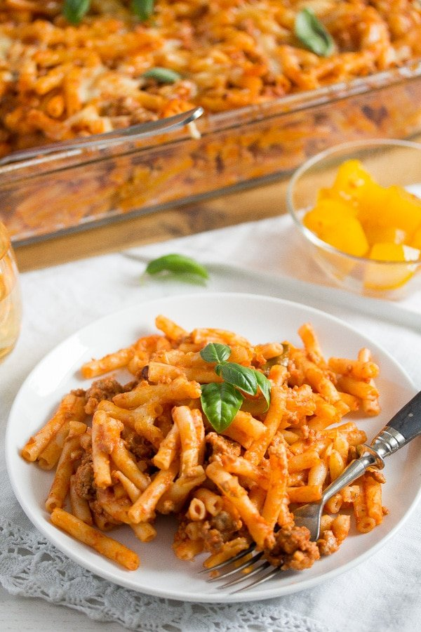bolognese pasta bake on a white plate