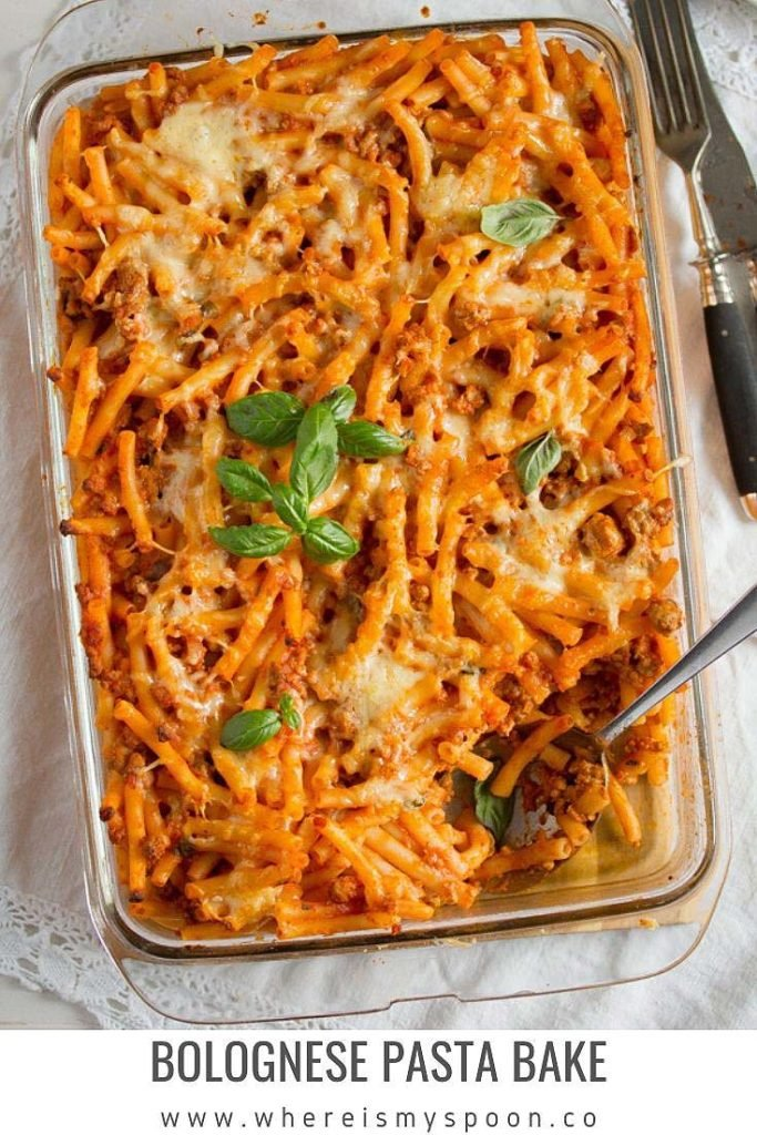 bolognese pasta bake in a casserole dish