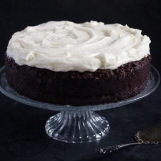 platter with chocolate cake with white chocolate cream cheese frosting