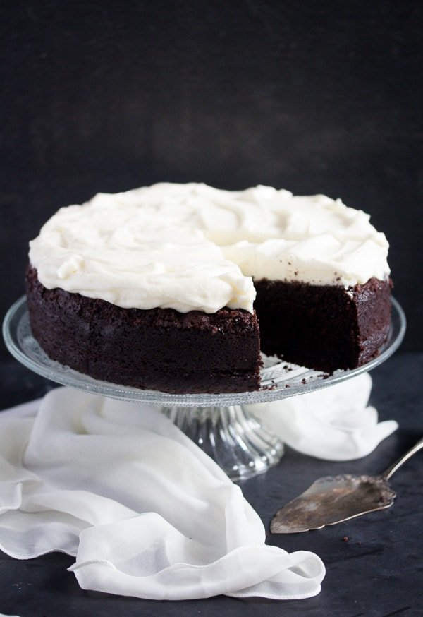 chocolate cake with cream cheese frosting ready to be served