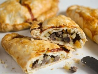 split cornish pasty with beef filling
