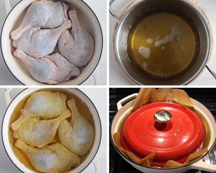 cooking duck legs confit in melted goose fat
