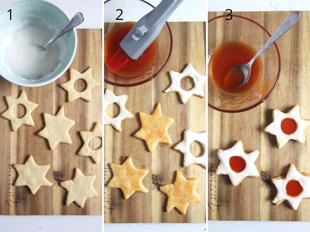 collage of three pictures showing how to assemble cookies with jam