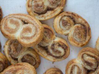 French cookies or palmiers with sugar and cinnamon