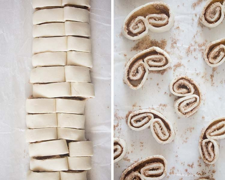 how to cut the pastry for making palmiers