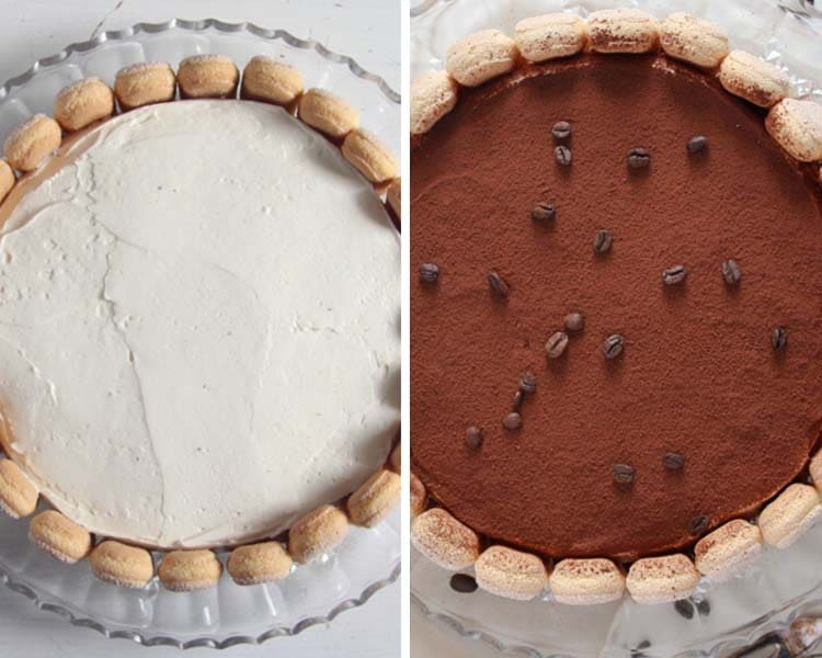slice of tiramisu cake ready to be served