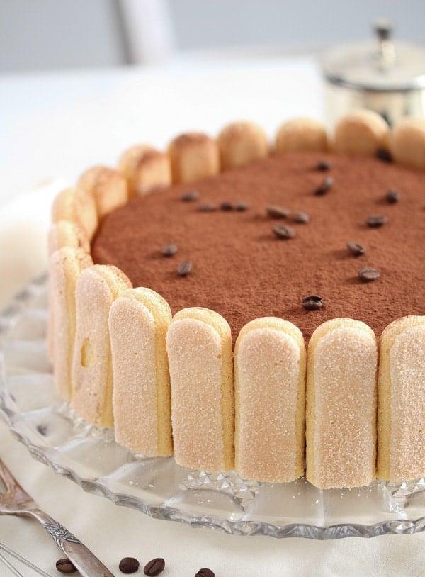 tiramisu cake with mascarpone and ladyfingers