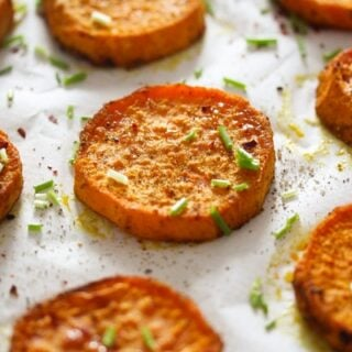baked sweet potato slices with spices