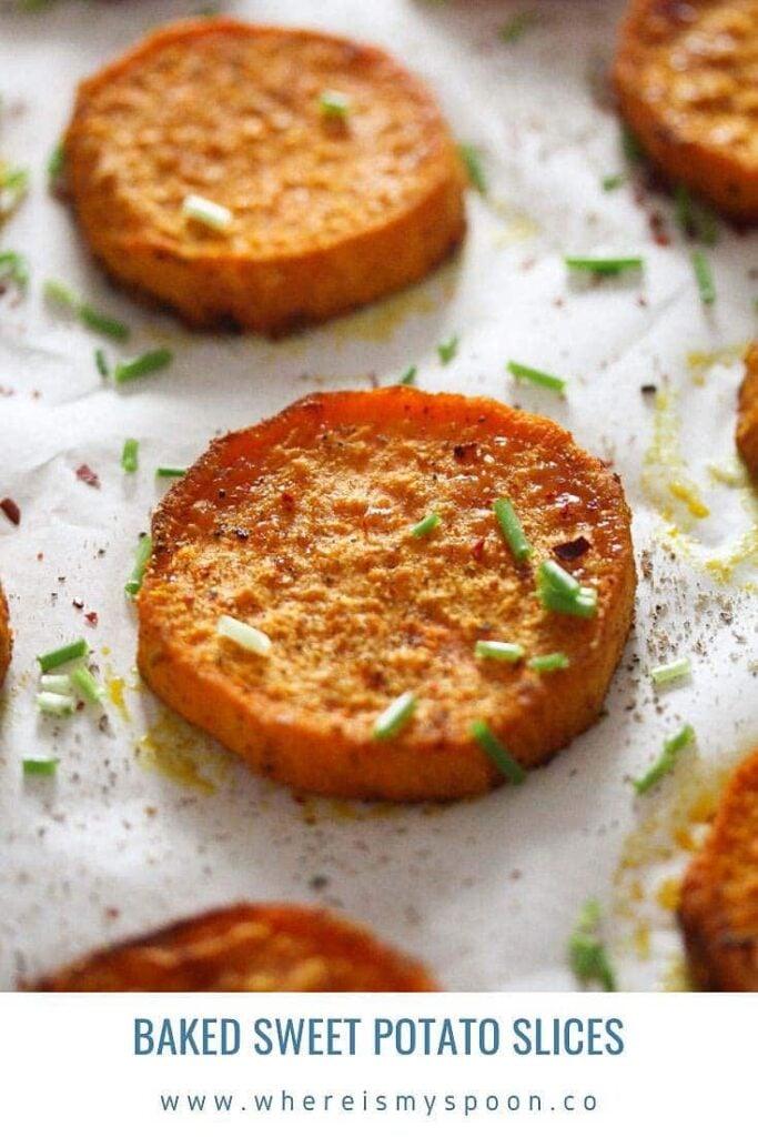 baked sliced sweet potato