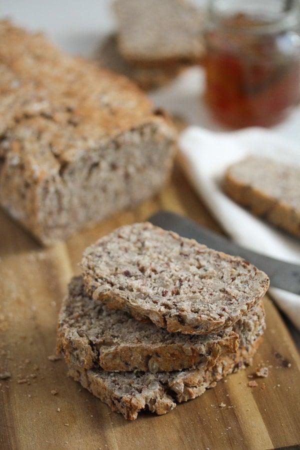sliced buckwheat bread on the table